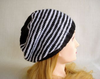 Slouchy hat Hand knit hat Winter hat Slouchy beanie hat Womens hat Mens hat Oversized Baggy hat Knit beanie Tam beret hat Slouchy knit hat