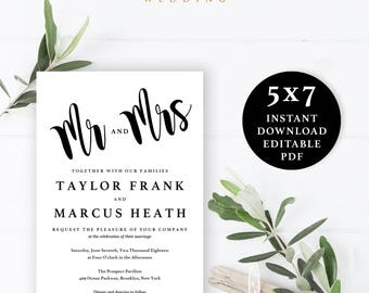 Mr. and Mrs. Wedding Invitation Template, 5x7, Instant Download Printable, Editable PDF, EWIN006