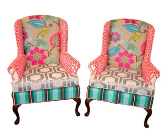 Wingback Upholstered Vintage Chair Custom Made with Pink and Blue Fabrics