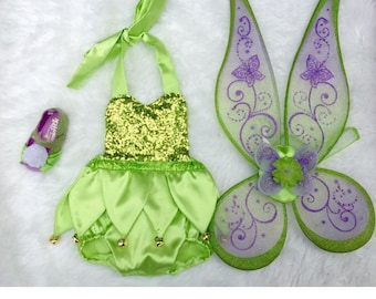 Lime Green Fairy Sequin Romper