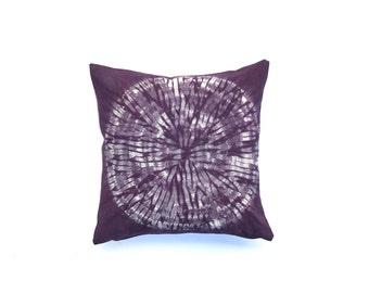 Eggplant Throw Pillow Hand dyed Shibori Purple Pillow Cover 18 x 18 Aubergine Cushion Cover Sofa Pillow Throw Pillow Boho Pillow Gypsy Decor