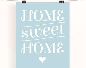 Home sweet home typography poster - home decor wall art - typography print - house warming gift - typographic poster - uk seller