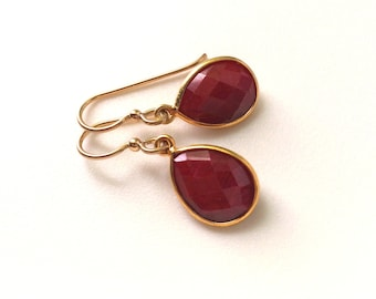 Ruby Gold Earrings, Ruby Teardrop Gold Earrings, Ruby Birthstone Earrings