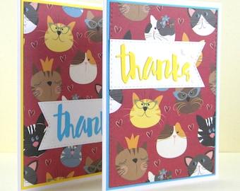 Cat Thanks Card, Cat Thank You Card, Handmade Cat Card