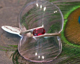 Garnet Ring ~ Side-Set 1 ct Oval Pyrope Garnet ~ Bypass Solitaire Sterling Silver Ring ~ Size 6.5