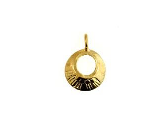 Karen Hill Tribe Gold Vermeil Open Circle Charm, Gold Circle Charm, Gold Tribal Pendant, Vermeil Charms - 1 Piece HTVCH7