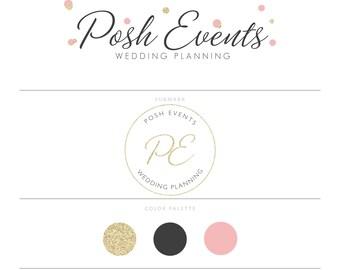 Blush Pink Logo Gold Logo Branding Package Wedding Planner Logo Party Planner Logo Eyelash Logo Microblading Logo Realtor Logo Design Doula
