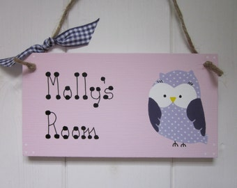 Owl personalised name girls boys bedroom baby nursery door sign plaque