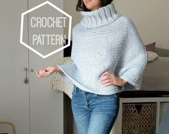 Cowl Neck Crochet Capelet Pattern, Cowl Neck Crochet Poncho Pattern, Crochet Patterns for Ponchos, Crochet Cape Pattern, Cowl Neck Poncho