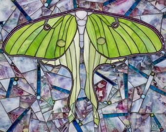 Luna Moth mosaic 16 x 20 - Matted Giclée Fine Art Print by Cherie Bosela