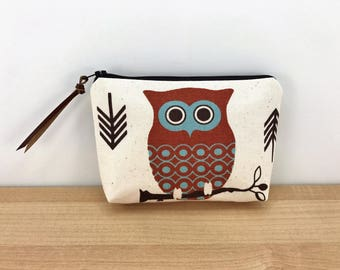 CLEARANCE - Owl Pouch - Cosmetic Bag - Small Zippered Pouch - Owl Zipper Pouch - Notions Bag - Gift ideas - Gift for her - Padded Pouch