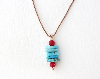 TURQUOISE Pendant Necklace / Stacked Stones / Short Layering Necklace / Turquoise and Coral //CAIRN Necklace