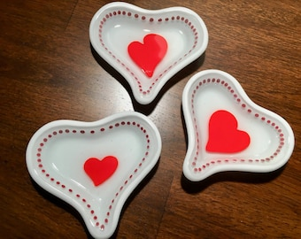 Mini heart dishes, set of 3, fused glass, 3.5 by 3 inches, white and red