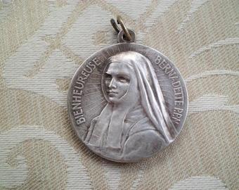 Antique French Blessed Bernadette & Sacred Heart Large Religious Medal