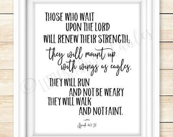 Isaiah 40:31 printable wall art, those who wait upon the Lord will renew their strength, Bible verse, Christian poster, wings as eagles