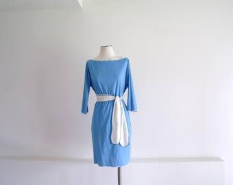 Vintage 60s Mod Dress, Day Dress, Womens Dress, Another Goody Dress, Blue Dress, Lightweight, Belted Dress, Boat Neck, Dolman Sleeves, M/L