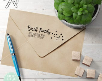 Modern custom return address stamp, self inking stamp or wood handle style 854 - Lovely Little Party