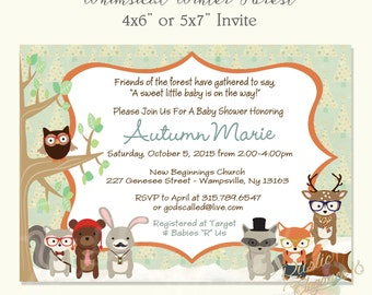 Whimsical Winter Forest Themed Baby Shower Invitation - Woodland Baby Animal Baby Shower Invitation-Neutral