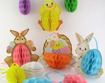 10 Easter Honeycoomb Hangers - paper - eggs - chicks - rabbits - Easter decor