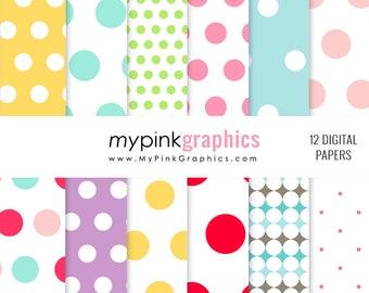 Pop Digital Paper - Polka Dots Patterns, Yellow, Blue, Purple, Background for Scrapbook, Web Design. Commercial Use. JPEG + PNG - MPG64
