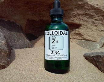 Colloidal Zinc 25 PPM 4oz. Glass Dropper Bottle