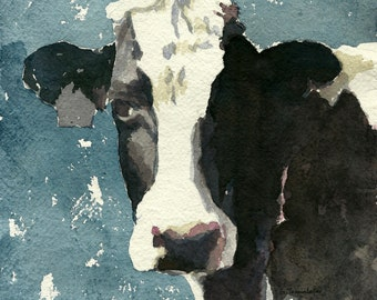 Cow PRINT 11 x 14 paper size cow art print of original watercolor painting cow decor holstein cow print