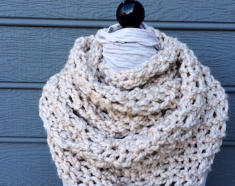 Tan Scarf - Huge Scarf - Chunky Knit Scarf - Infinity Scarf - Figure 8 Scarf - Scarf - Knit Cowl - Chunky Scarf