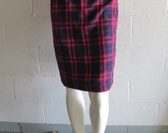 Womens Vintage Pink Plaid High Waist Skirt