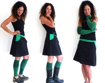 Arm warmers and leg warmers, green, black stripes, stripes