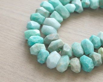 10 pcs of Natural Amazonite Faceted Nugget Gemstone Beads