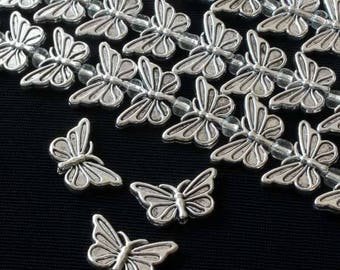 10x17mm Silver Pewter Butterfly Bead - 8 Inch Strand Approx 18 Beads per Strand