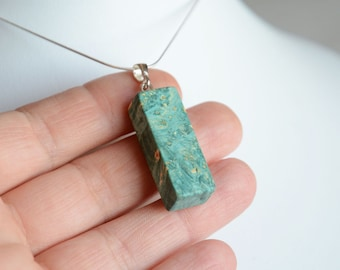 Cuboid wooden pendant, green burl wood pendant necklace, unique wooden jewelry with silver, geometric modern jewelry, gift wrapped