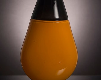 Mandarin Orange and Dark Gray Incalmo Vase, Hand Blown Decorative Glass Vase, Offhand Glass, Modern, Minimal, Classy