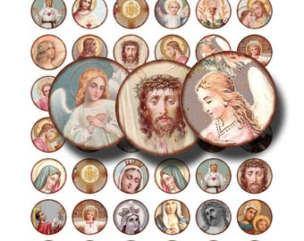 holy images in 1 inch circles, Jesus, the Saints, Virgin Mary, Madonna, digital collage sheet no. 1450