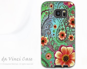 Paisley Floral Case for Samsung Galaxy S7 EDGE - Premium Dual Layer Galaxy S 7 EDGE Case - Paisley Paradise - Green and Orange Art
