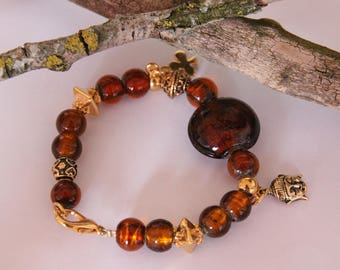 Bracelet ethnic beads silver leaf topas and antique gold plated