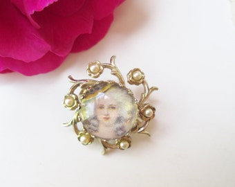 Coro Marie Antoinette Brooch Vintage Cameo Pin Gold w Pearls Dot Style Portrait Painting Victorian Lady w Hat Unique Mother's Day Gift