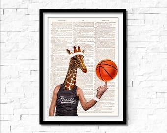 Giraffe Art Print, Basketball wall art, vintage dictionary page book art print.