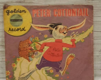 Vintage 1950s A Little Golden Record 33 RPM Peter CottonTail Song by Steve Nelson and Jack Rollins. Yellow Vinyl Nice Clean Condition R57