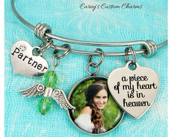 Loss Of Partner Memorial Bracelet, A Piece Of My Heart Is In Heaven, Custom Photo Jewelry, Girlfriend, Sympathy Gift,Personalized Birthstone