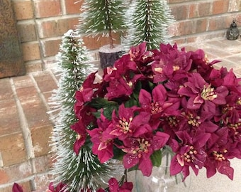 CLEARANCE Vintage Poinsettia Floral Silk Bushes in Burgundy