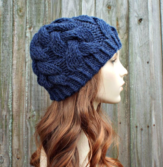Navy Blue Knit Cable Beanie - Navy Womens Beanie Navy Mens Beanie - Cable Hat Navy Hat Warm Winter Hat - Branch Cable