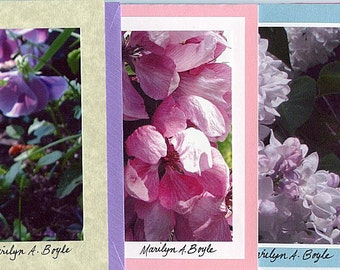 4 - FLOWER CARDS- PHOTOS; blank cards, 5 x 7 inches; photos 4 x 6 inches, garden, carnations, pansy, crabapple blossoms, lilacs,Mother's Day