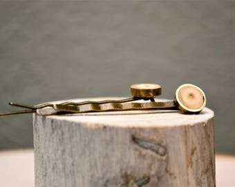 Wood and brass, Bobbie pins, Hair pins, Bridesmaid gift, Wedding accessory, Christmas gift idea,