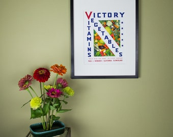 Victory Vitamins Vegetables Vintage Victory Garden Poster Reproduction