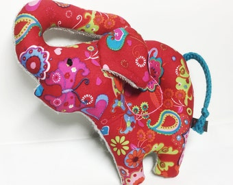 Elephant rattle Baby sensory soft toy out of red flowers colorful Cotton and Terry Fabric