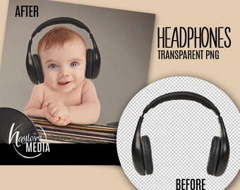Photoshop Transparent PNG Overlay DJ Music Headphones for Fun Photography Prop - Instant Download
