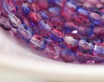 Tchèque feu poli perles rondes 4mm quantité 50-double enduit Fuchsia/Tanzanite (CZ 4R F/T)