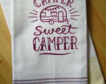 Camper Sweet Camper Chalkboard Kitchen Towel