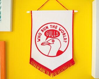 Who Run The World Gulls Pennant Flag, Wall Hanging, Kids Wall Art, Feminist Wall Flag, Girl Power Wall Flag Sign, Girls Inspirational Banner